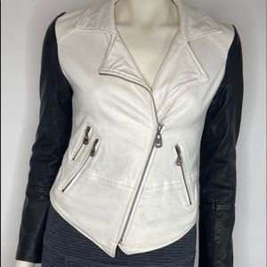 Doma Lined Leather Blend Double Zipper Jacket Sz S